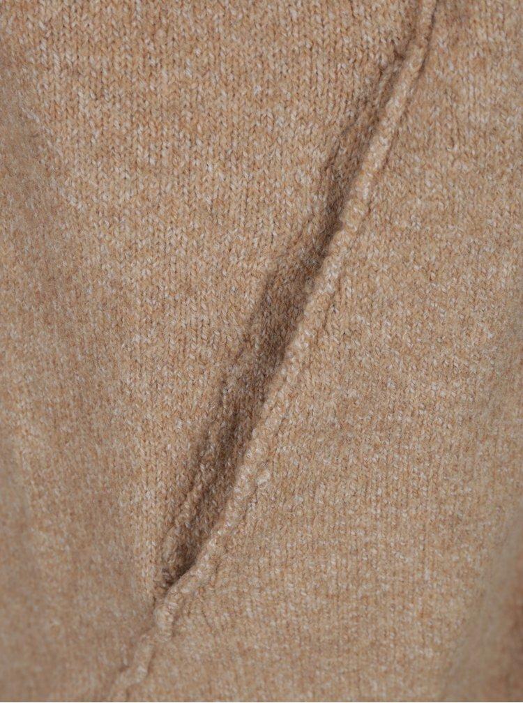 Světle hnědý dlouhý žíhaný kardigan ONLY Celia