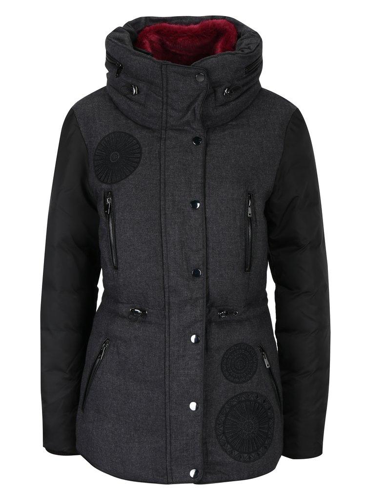 Tmavě šedá bunda s vysokým límcem a skrytou kapucí Desigual Marlene