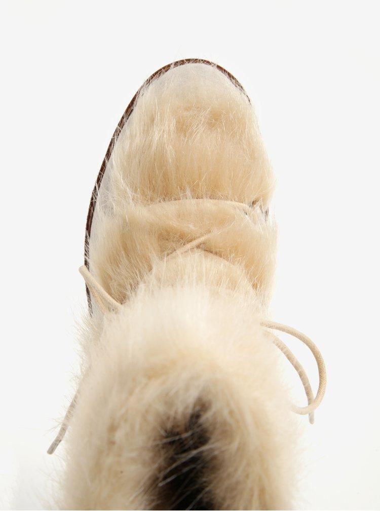 Béžové zimní válenky s umělou kožešinou Tamaris