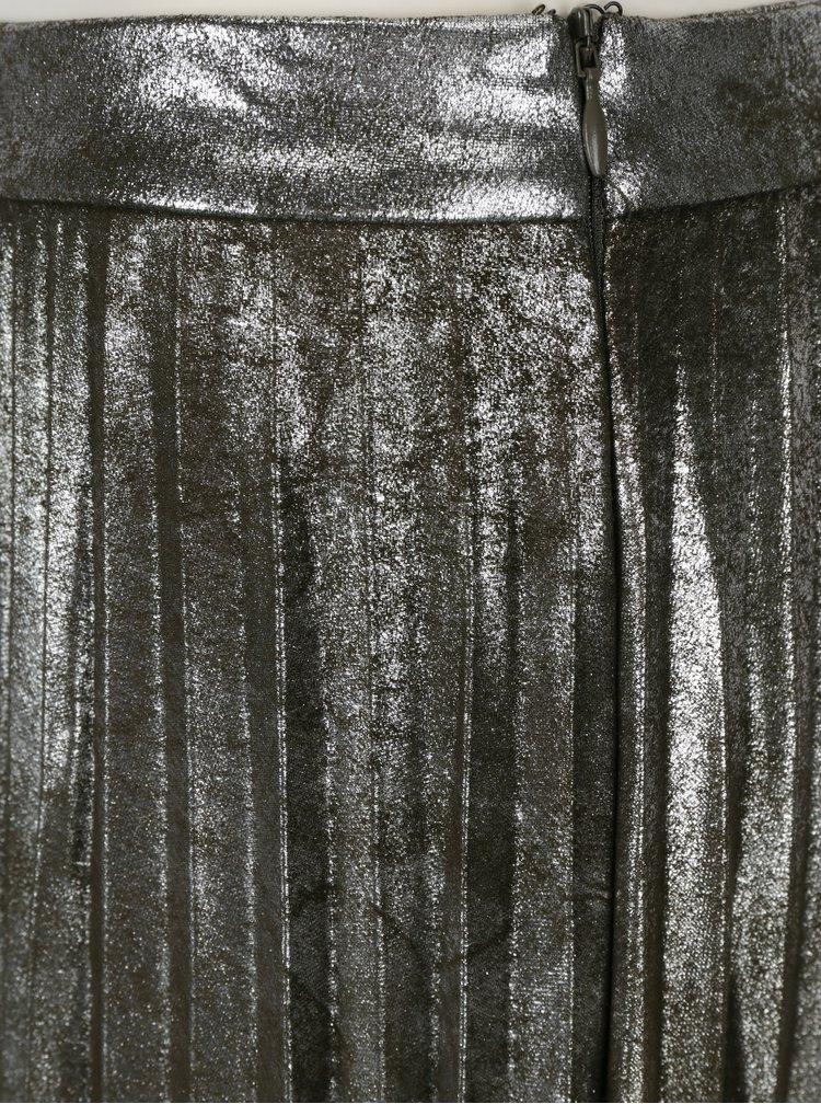 Metalická plisovaná sukně ve stříbrné barvě ONLY Joyce