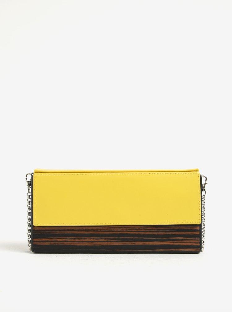 Žlto-hnedá drevená listová kabelka s koženou chlopňou Lemnia