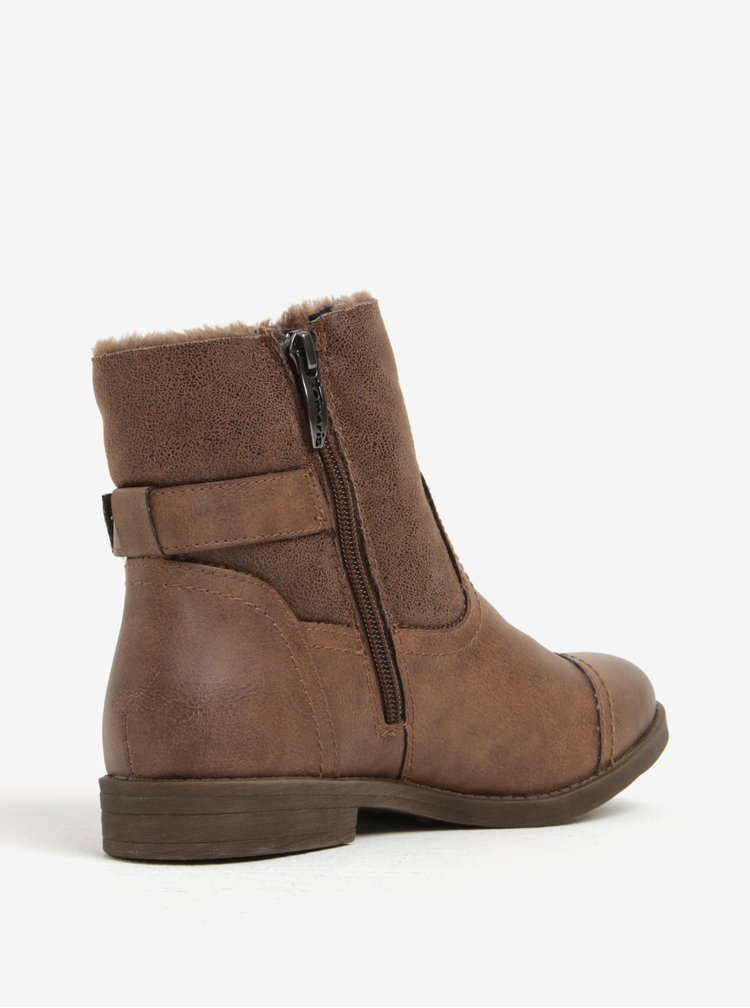 Hnedé zimné členkové topánky s umelou kožušinou Tamaris