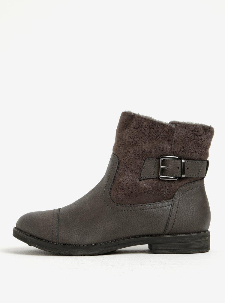 Tmavě šedé zimní kotníkové boty Tamaris