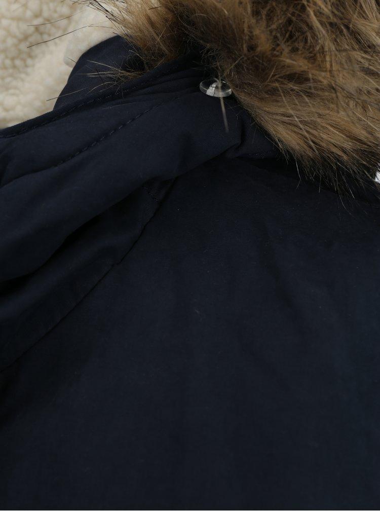 Tmavě modrá zimní parka s umělou kožešinou ONLY Lena
