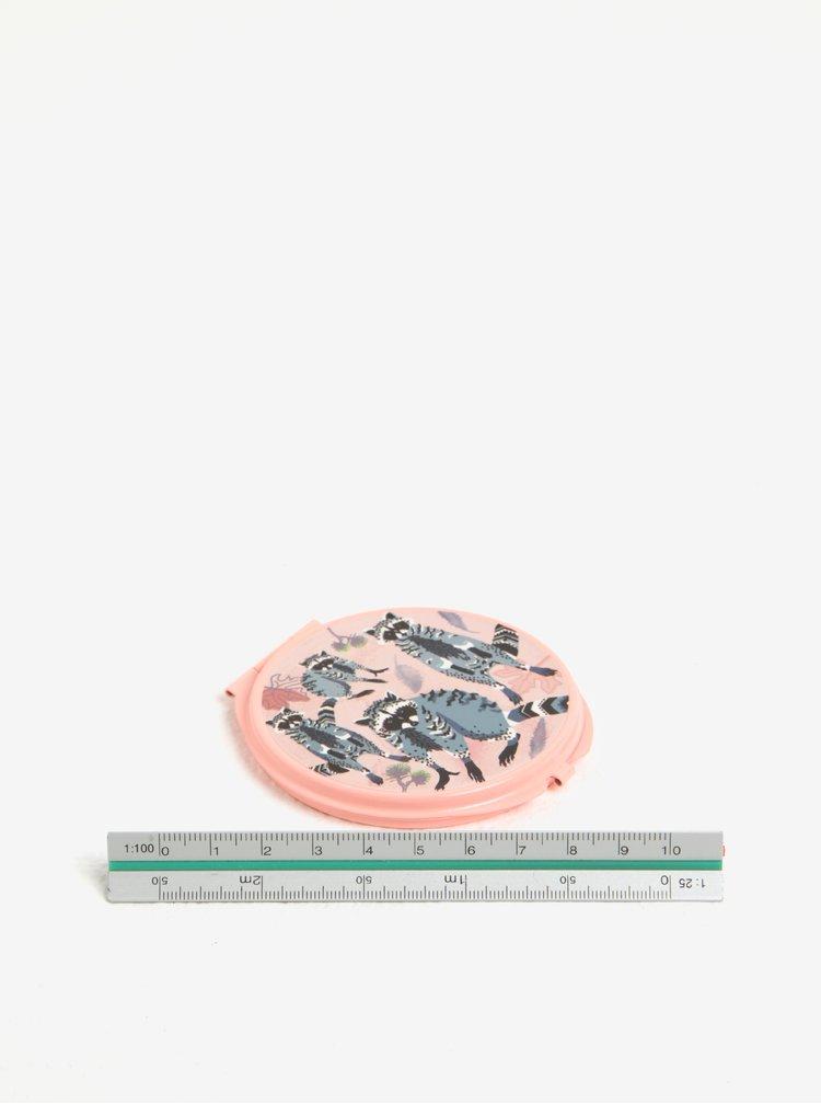 Oglinda rotunda roz cu print raton - Disaster Racoon