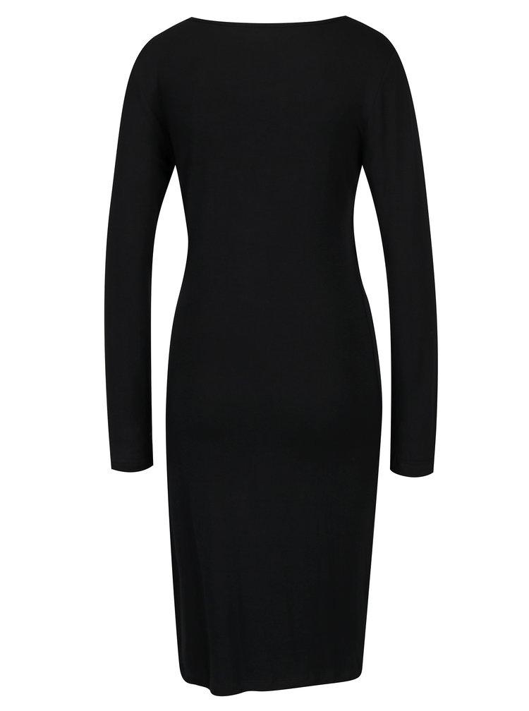 Rochie neagra cu maneci lungi si cusaturi frontale - ONLY Rina