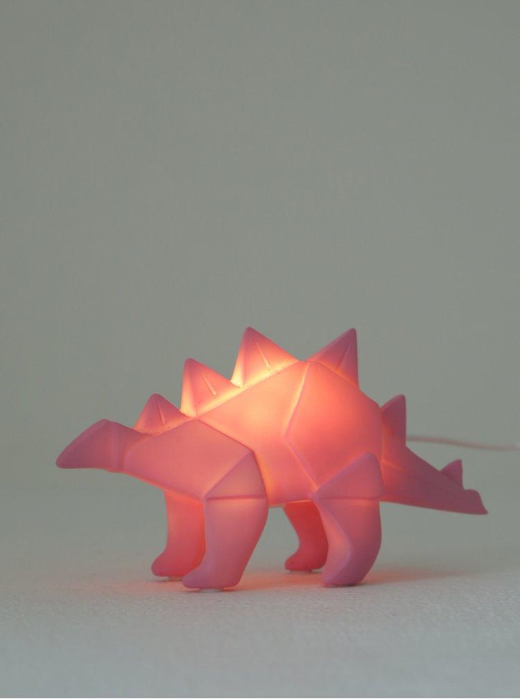 Růžová malá LED lampička ve tvaru dinosaura Disaster Dinosaur