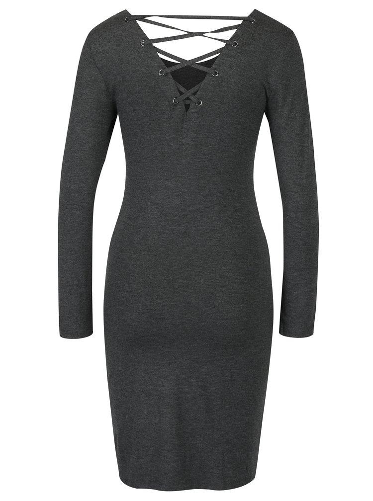 Tmavě šedé šaty se šněrováním na zádech ONLY Rina String