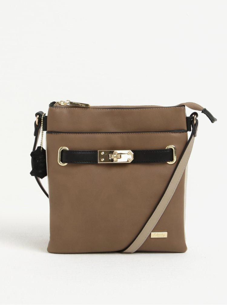 Hnědá crossbody kabelka s koženými detaily Liberty by Gionni Janine
