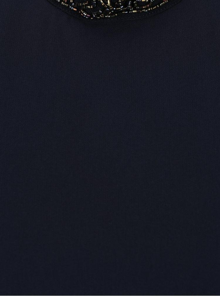 Tmavě modrá halenka s korálkovým lemem u krku ONLY Lin