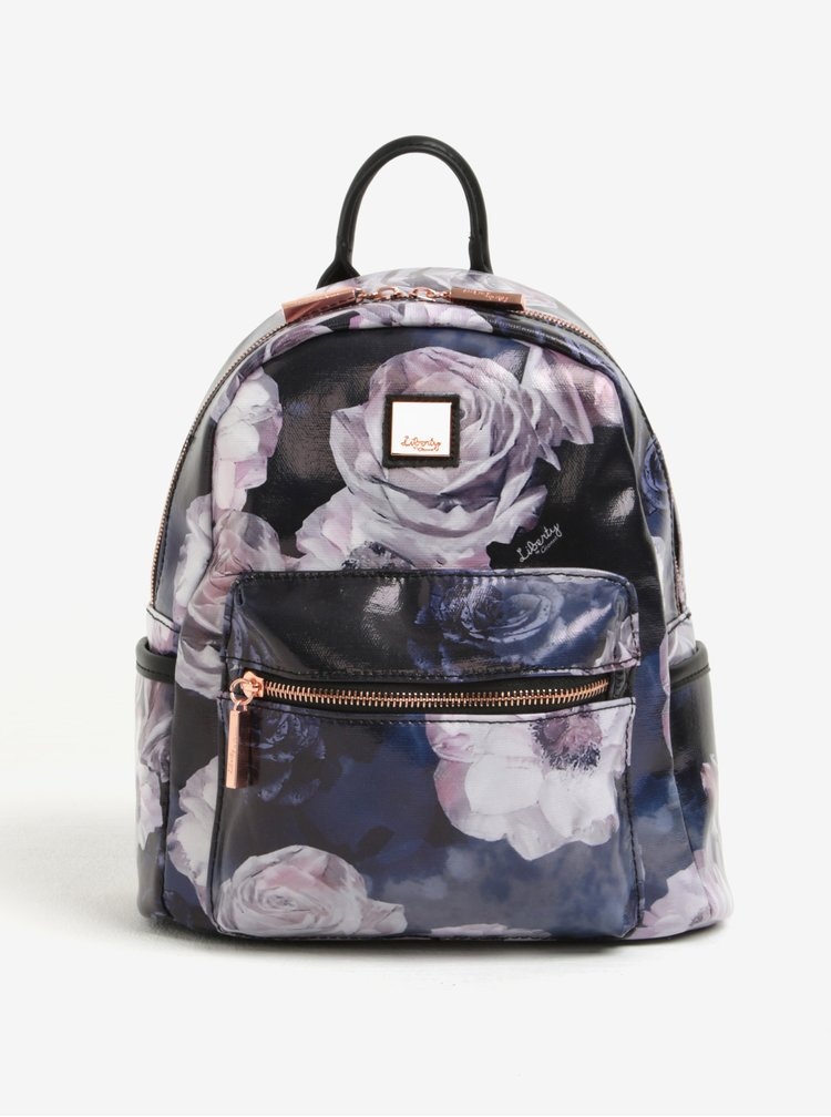 Černý květovaný batoh Liberty by Gionni Fleur