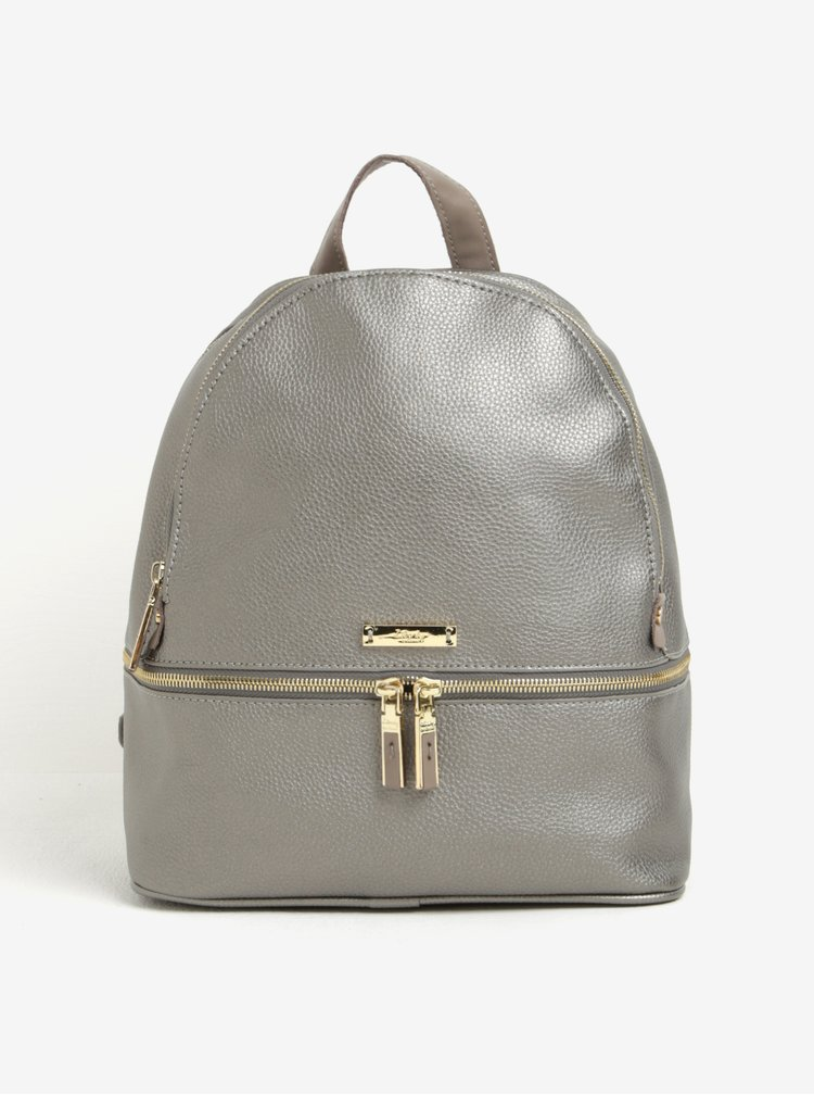 Batoh ve stříbrné barvě s koženými detaily Liberty by Gionni Lorraine