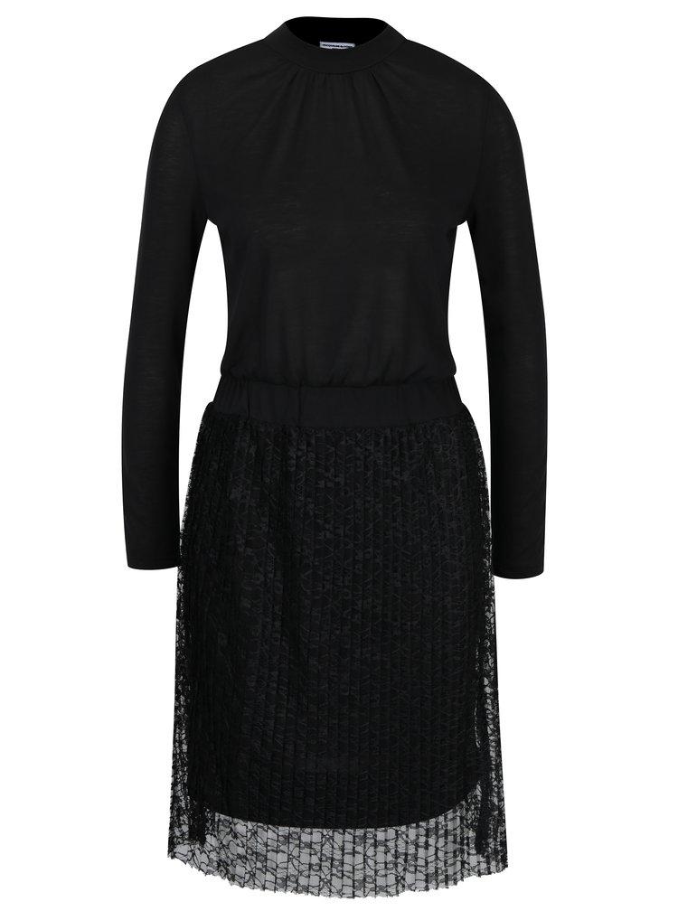 Černé šaty se stojáčkem a krajkovou sukní Jacqueline de Yong Bonsai