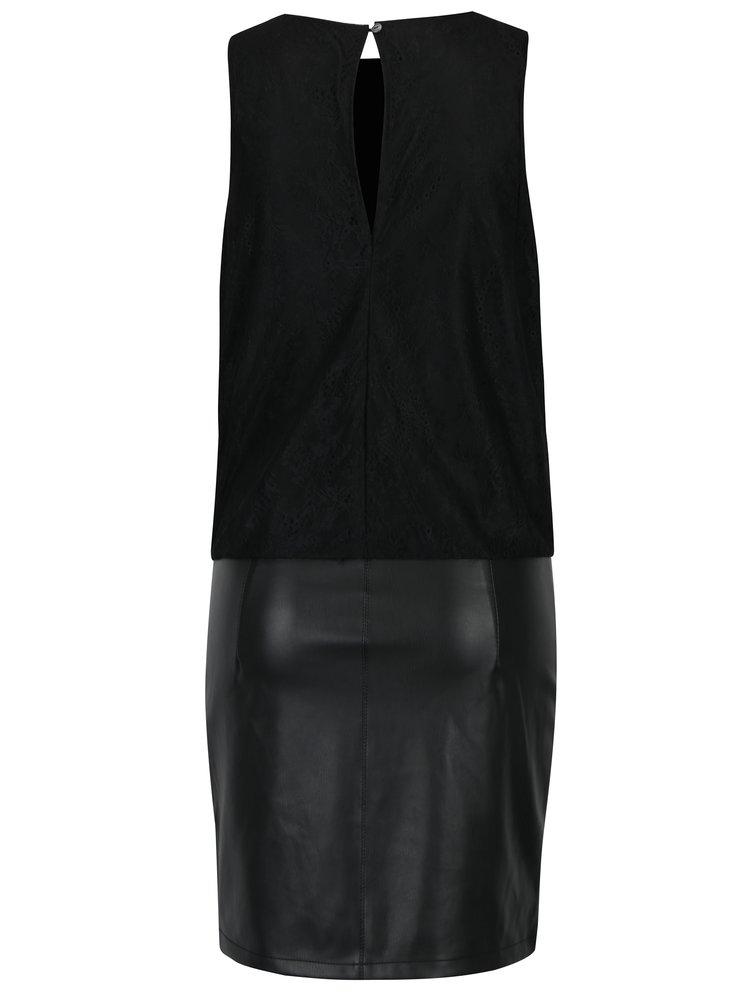 Černé pouzdrové šaty s krajkovým topem a koženkovou sukní ONLY Lea