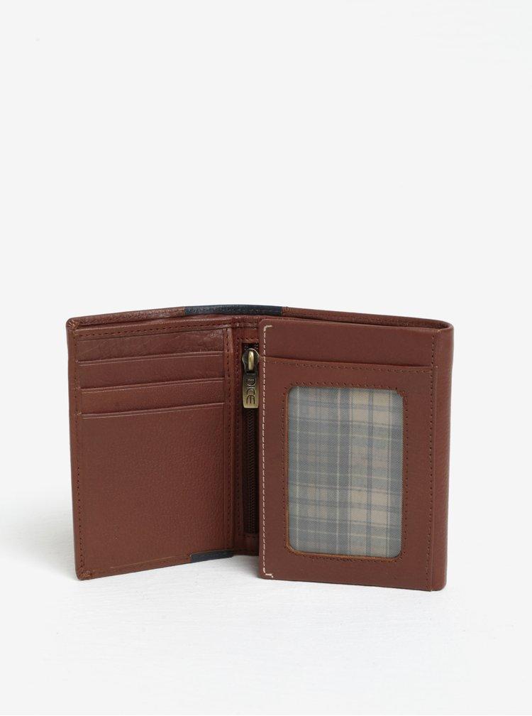 Hnědá kožená peněženka s perforovanými detaily Dice Trifold