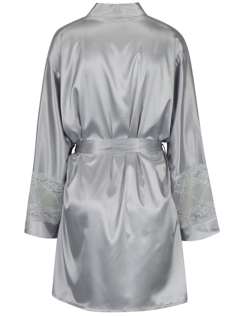 Saténový župan ve stříbrné barvě s krajkovými detaily Eden Lingerie