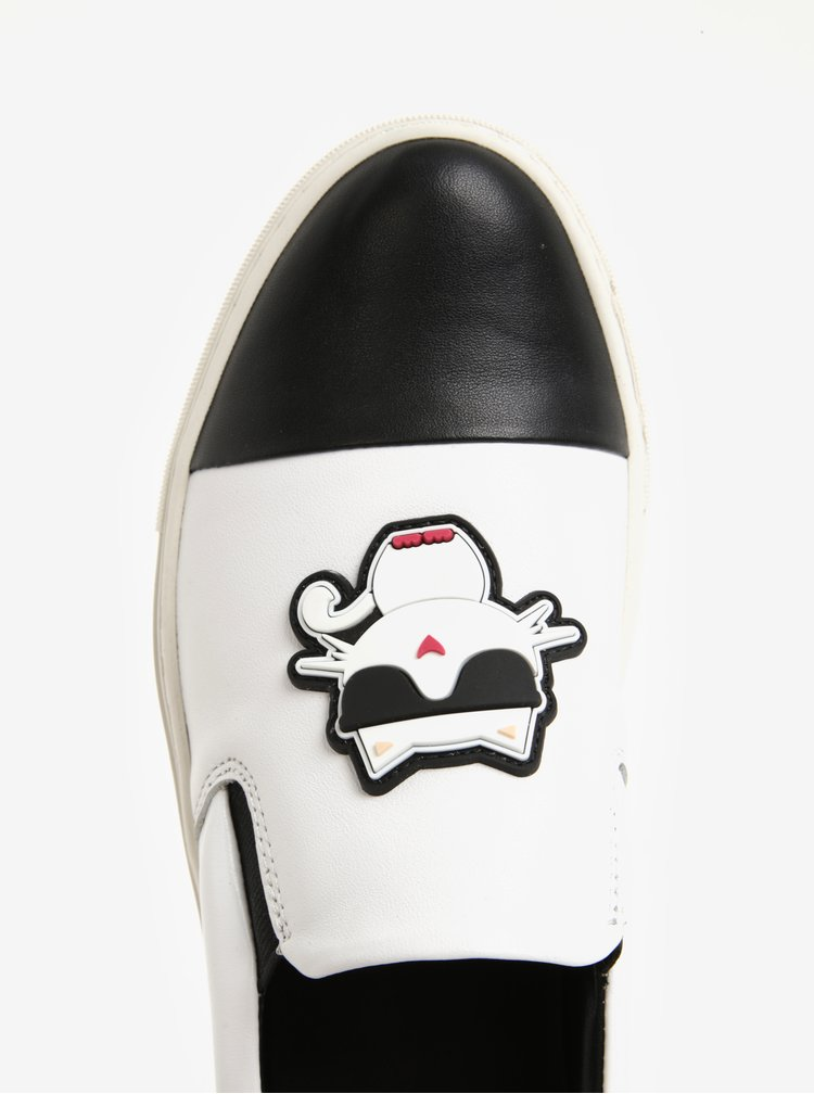 Černo-bílé kožené slip on s gumovou aplikací KARL LAGERFELD Kupsole