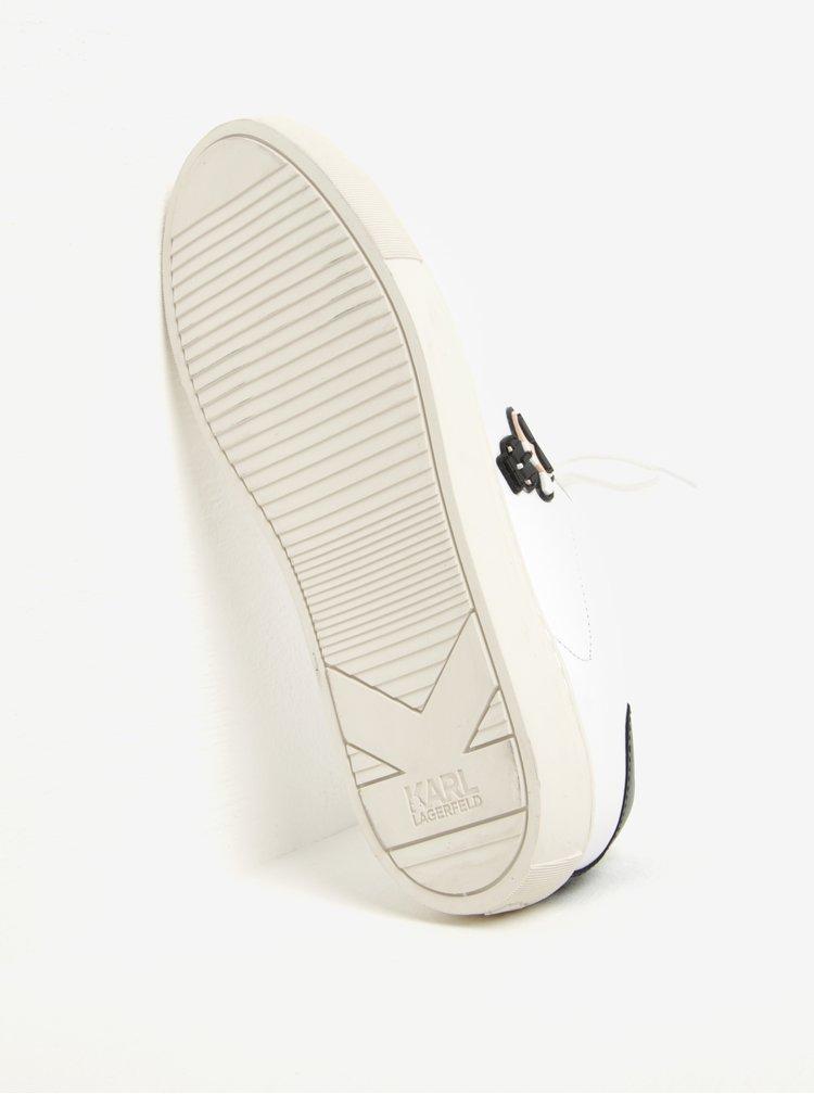 Bílé kožené tenisky s gumovou aplikací KARL LAGERFELD Kupsole