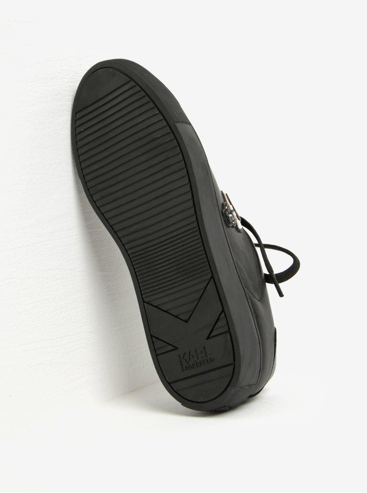 Černé kožené tenisky s gumovou aplikací KARL LAGERFELD Kupsole