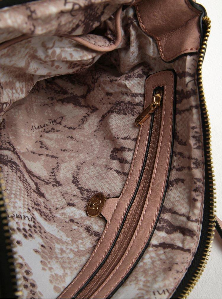 Starorůžová žíhaná crossbody kabelka s detaily ve zlaté barvě Gionni Loretta