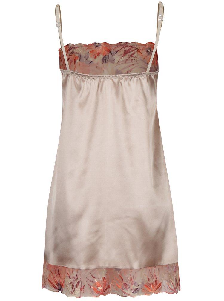 Béžová saténová noční košilka s výšivkou Eden Lingerie