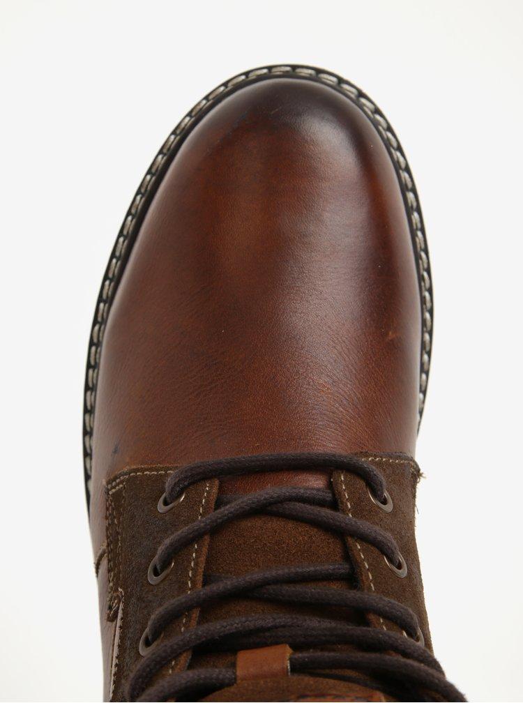 Hnědé pánské kožené kotníkové boty s.Oliver
