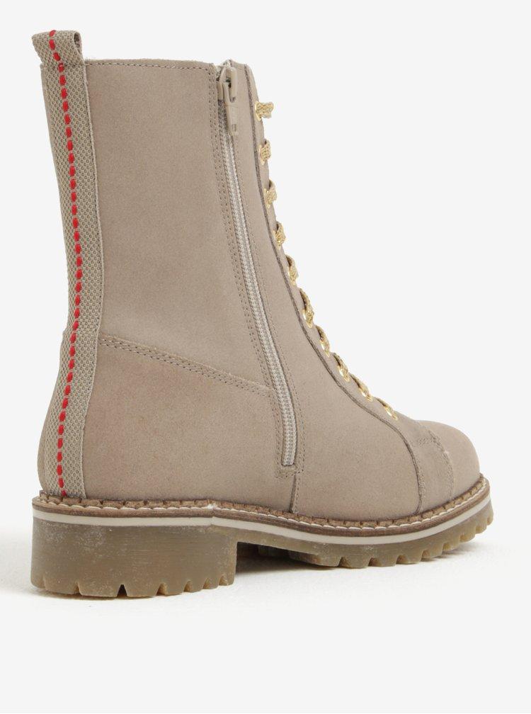 Béžové dámské kožené zimní kotníkové boty s.Oliver