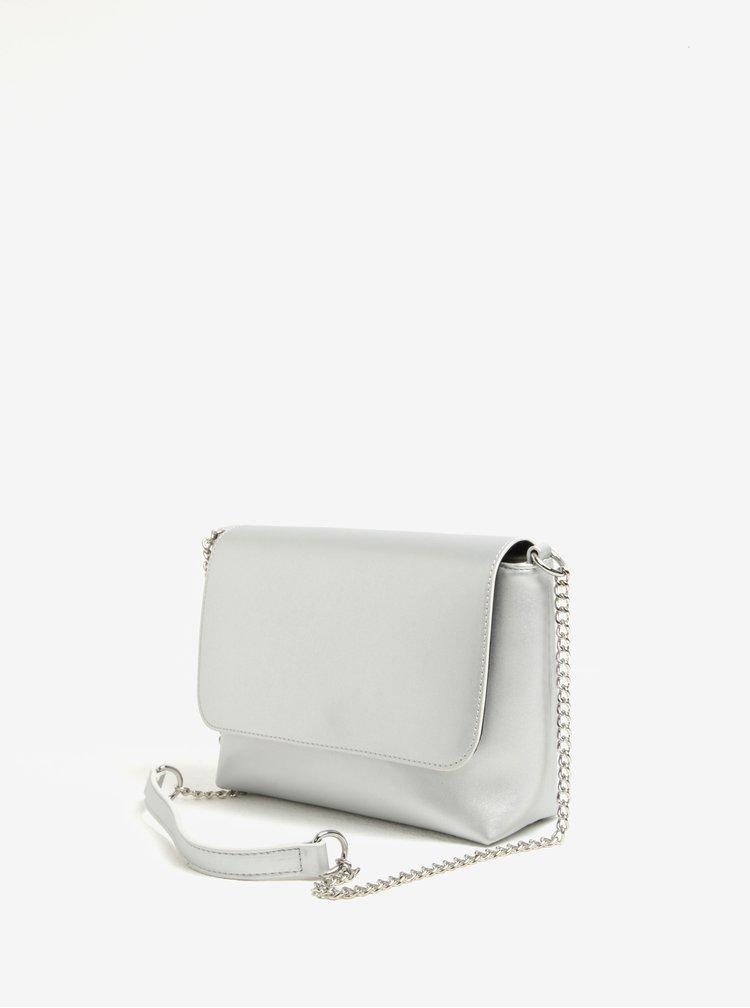 Crossbody kabelka ve stříbrné barvě s řetízkem Pieces Rolly