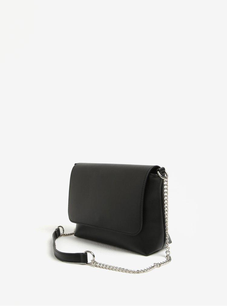 Černá crossbody kabelka s řetízkem Pieces Rolly