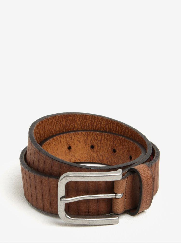 Hnědý pánský kožený pásek s jemným vzorem s.Oliver