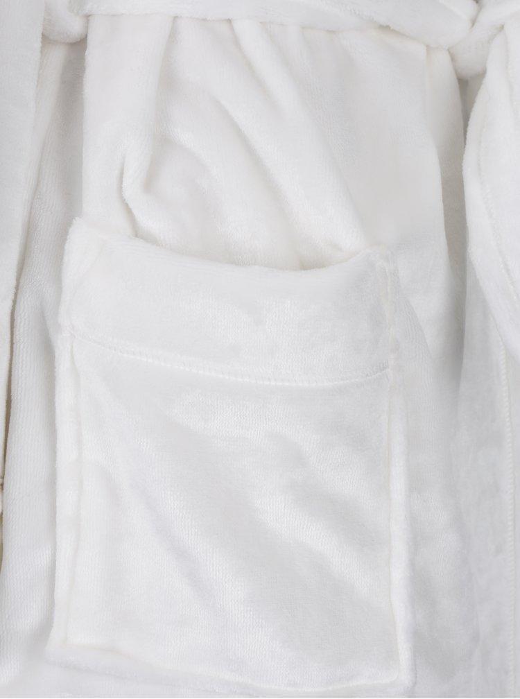 Halat de baie crem cu broderie - DKNY