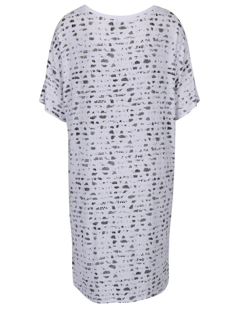 Bílá vzorovaná noční košile s krátkým rukávem DKNY
