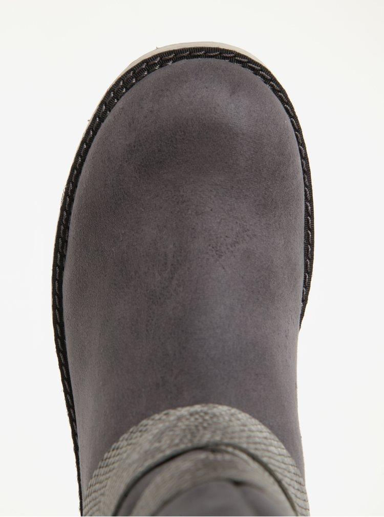 Cizme scurte gri inchis de iarna cu blana artificiala pentru femei - s.Oliver