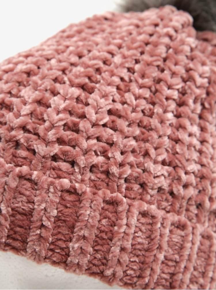 Caciula roz prafuit cu pompon gri - Pieces Ofelia
