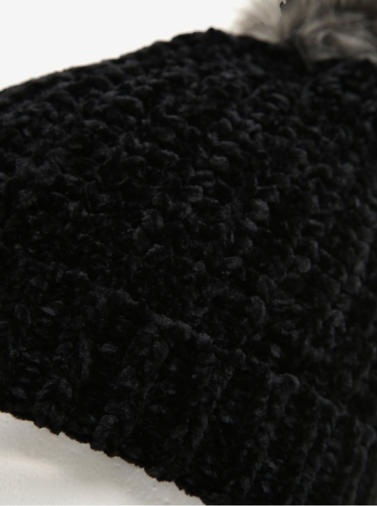 Caciula neagra cu pompon gri - Pieces Ofelia