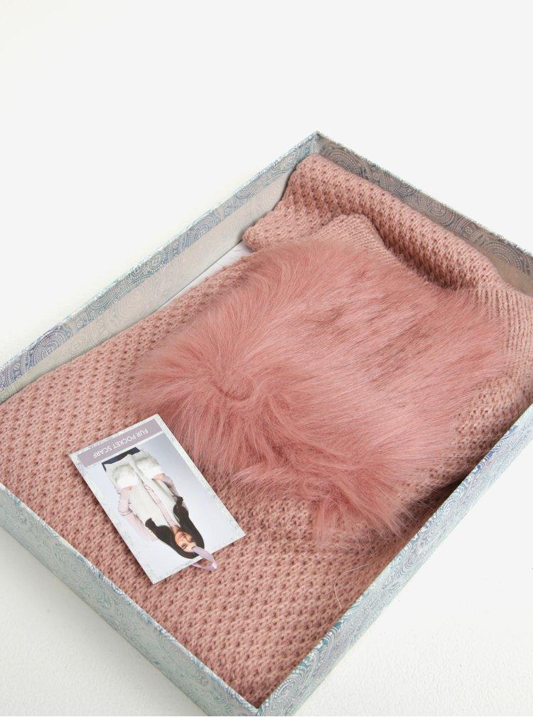Růžová dámská šála s kapsami Something Special