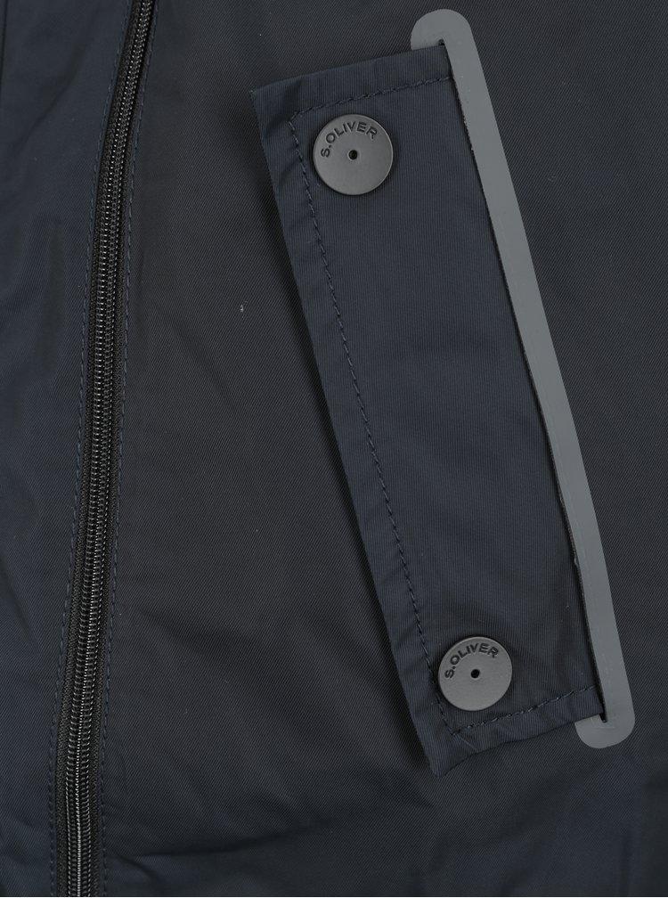 Tmavě modrá pánská bunda s kožíškem s.Oliver