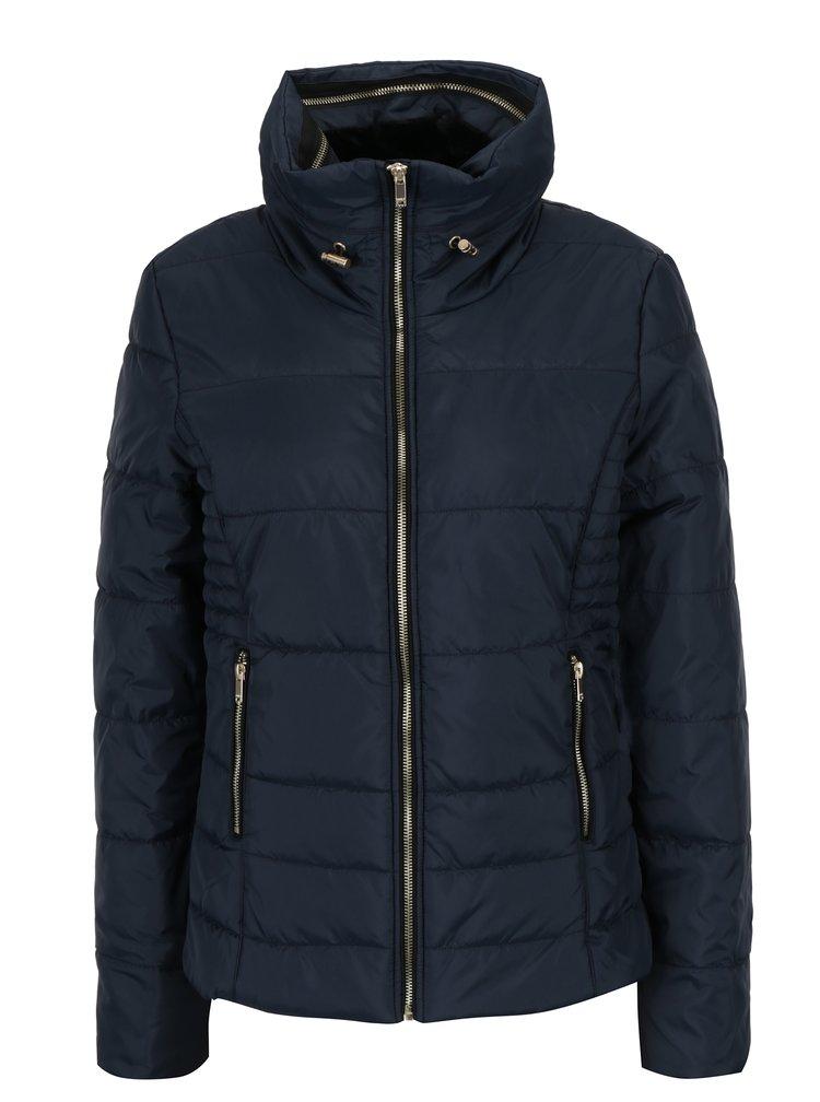 Tmavě modrá prošívaná bunda se skrytou kapucí ONLY Brooke