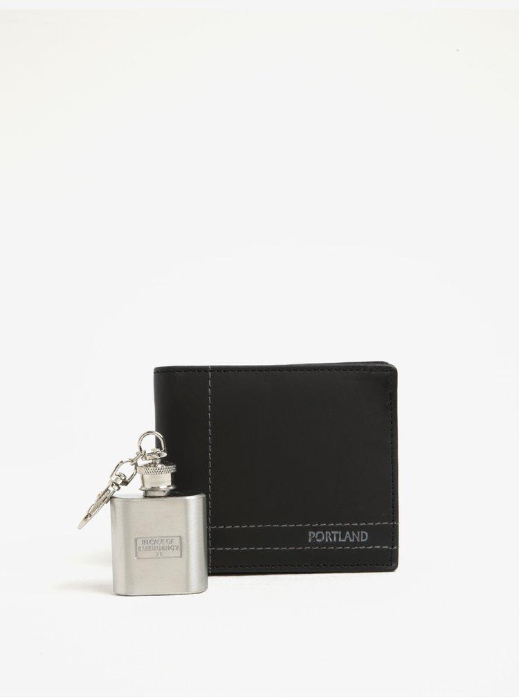Set portofel negru din piele + sticla de buzunar din otel inoxidabil Portland