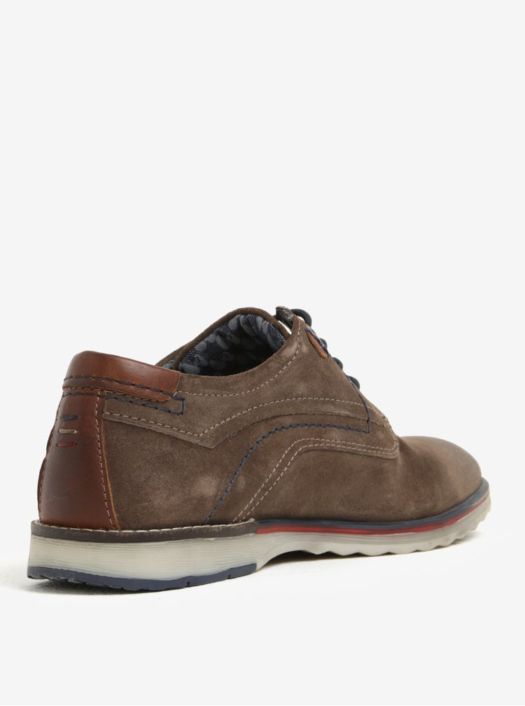 Pantofi maro din piele naturala intoarsa pentru barbati - s.Oliver