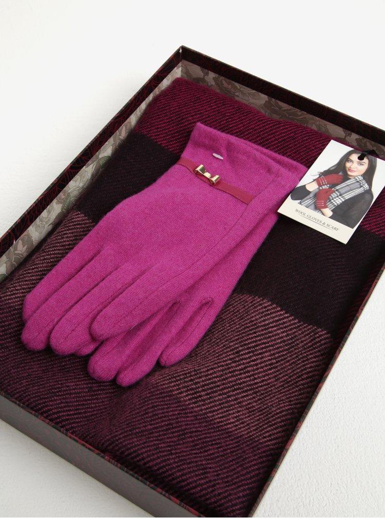 Fialovo-růžový dámský dárkový set vlněných rukavic a šály Something Special