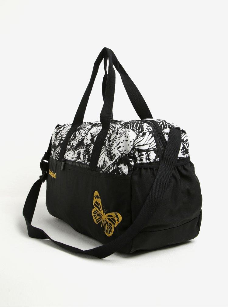 Bílo-černá vzorovaná sportovní taška s výšivkou Desigual Sport