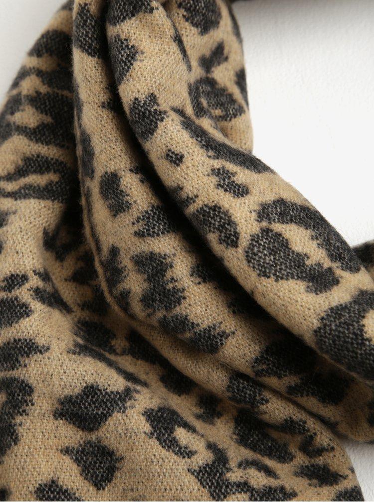 Set fular negru& bej animal print + manusi negre din amestec de lana  Something Special
