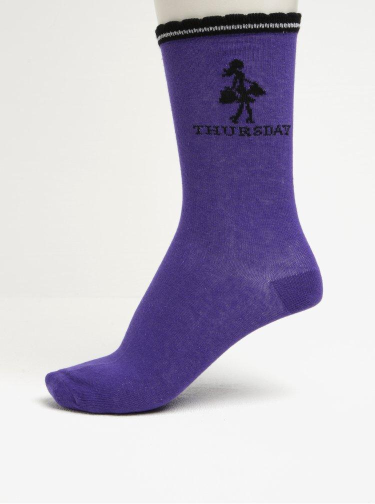 Černo-fialová dárková sada pěti párů dámských ponožek Something Special