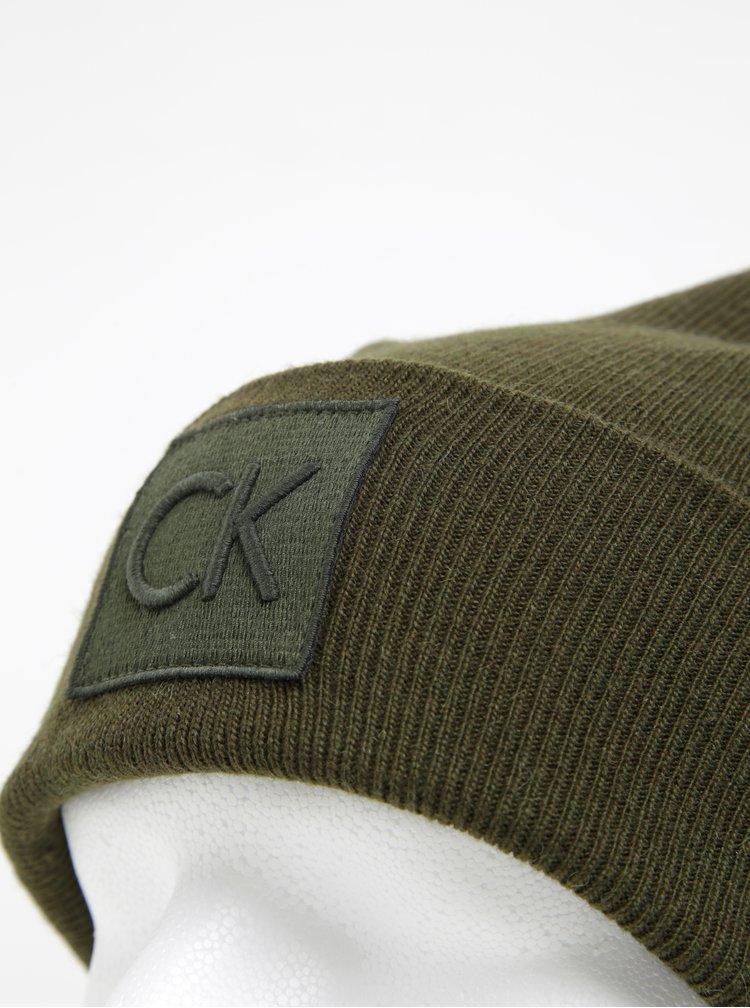 Khaki pánská čepice s příměsí vlny a alpaky Calvin Klein Jeans