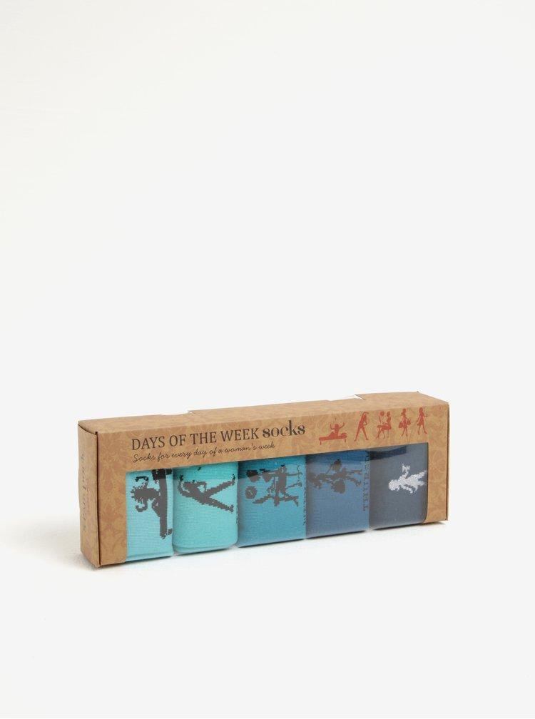 Set de 5 perechi de sosete verde&albastru cu print zilele saptamanii Something Special