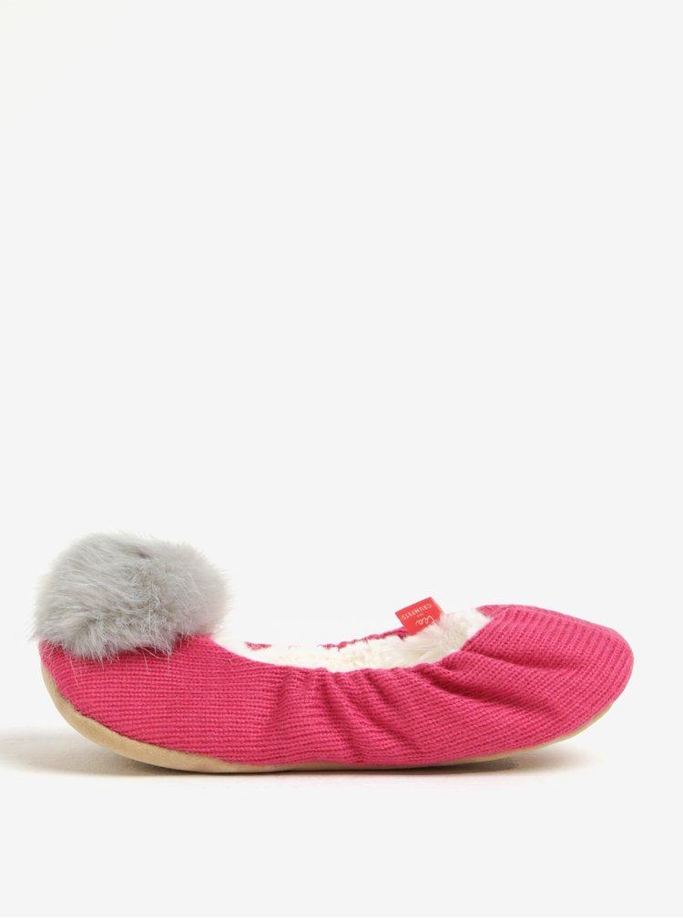 Růžové papuče s bambulkou Tom Joule
