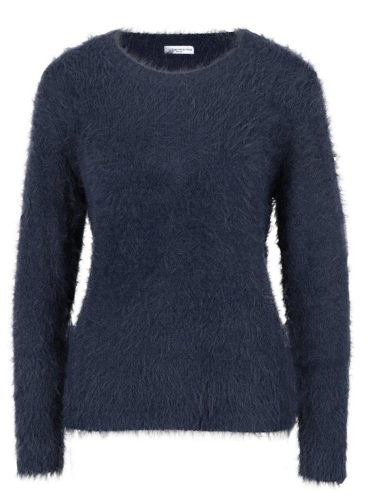 Tmavě modrý chlupatý svetr Jacqueline de Yong Kane
