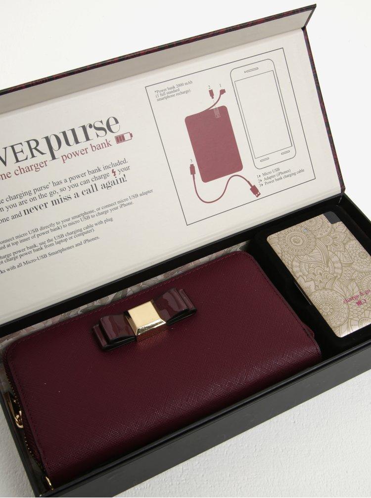 Set portofel bordo + baterie externa aurie cu print floral Something Special