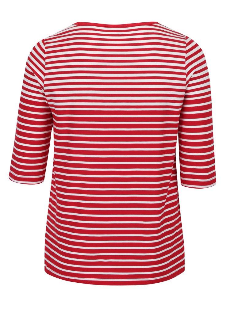 Bluza rosu&crem in dungi cu maneci 3/4 din amestec de bumbac Pima Ulla Popken